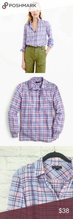 """J. Crew Gathered Popover Shirt Sz 2 Button Plaid J Crew Gathered Women's Popover Shirt in lilac, size 2.  Fabric is Cotton Measurements are below, taken straight across with the garment laying flat  Bust - 18.5"""" Length - 26"""" Sleeves - 23"""" TG008342817299 J. Crew Tops Button Down Shirts"""