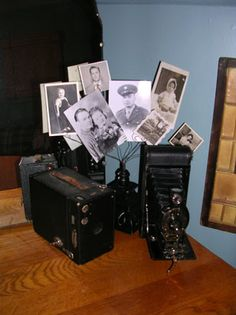 DIY Craft Projects displaying collections - idea for the old cameras and old family photos