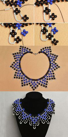 seed bead necklace patterns for beginners Diy Necklace Patterns, Seed Bead Patterns, Beaded Bracelet Patterns, Beading Patterns, Seed Bead Bracelets Diy, Seed Bead Necklace, Beaded Bracelets, Fringe Necklace, Bead Jewellery