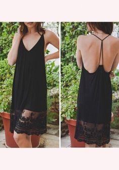 Black Patchwork Backless Condole Belt Lace Midi Dress
