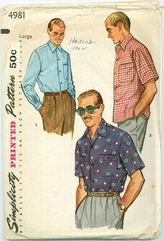 Simplicity 4981 - 1950s Man's Sport Shirt