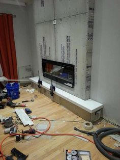 Fantastic Absolutely Free Stone Fireplace Strategies See how to transform the blank wall into favorite part of the house-add stacked stone fireplace Fireplace Tv Wall, Build A Fireplace, Faux Fireplace, Fireplace Remodel, Living Room With Fireplace, Fireplace Design, Living Room Decor, Fireplace Ideas, Fireplace Kitchen