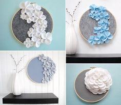Esta idea de los bastidores puede servir para pendientes, decorandolo así con flores de fieltro.//