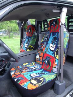 Yes please! 1 Set of Batman Comic Print Custom Made Car Seat by ChaiLinSews, $60.00...So want these.