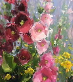 Stacey Peterson, Hollyhocks, oil, 30x15
