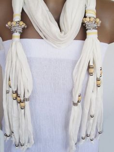 SULTANA Scarf With Great Beads and Stones by mediterraneanlights, $28.90