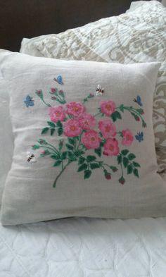 Vintage Hand geborduurd linnen kussen Sham/geborduurd kussen Sham/geborduurde kussenslopen/Shabby Chic