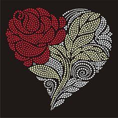 Flower Heart Iron On Hotfix Crystal Diamante T Shirt Motif Patch Gem Embroidery Stitches Tutorial, Hand Embroidery Patterns, Dot Art Painting, Painting Patterns, Cross Stitch Rose, Cross Stitch Flowers, Mandala Pattern, Mandala Art, Magic Design