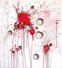 """As It Is"" by NAVA LUBELSKI :: Thread, stains and paint on cut canvas :: http://www.navalubelski.com"