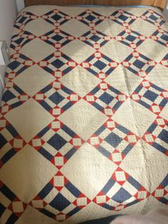"""Antique 1891 Quilt Handmade Red White Blue Southern Ohio 82 x 84"""" 