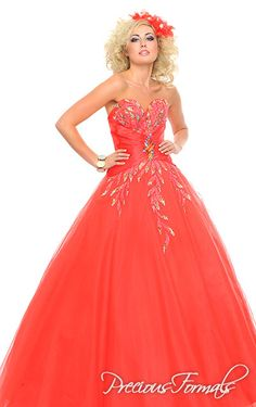 Precious Formals Style P20934 multi-colored sequines in leaf patterns grace the front bodice and trail down the front and back of this long tulle dress with a side satin waist.