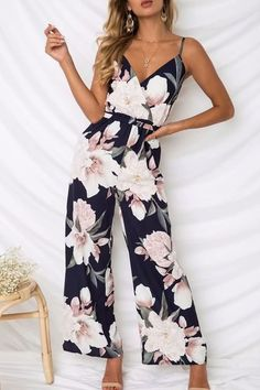 Dark-blue Floral Print Spaghetti Straps Wrap Sexy Wide Leg Jumpsuit #055837 @ Sexy Rompers And Jumpsuits For Women-Strapless Jumpsuit,Long Sleeve Jumpsuit,Long Sleeve Romper,Short Rompers,Floral Romper,Strapless Romper,Floral Jumpsuit,Backless Jumpsuit,Black Jumpsuit,Denim Jumpsuit,V Neck Jumpsuit
