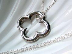 LARGE Silver Quatrefoil Clover Necklace by AkulaHopeDesigns, $19.00