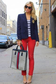 I like everything about this outfit. Colored jeans, nude pumps, Ralph Lauren blazer, Gucci bag, and nautical stripes. So adorable.