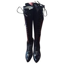 DIOR DIOR patent knee high boots