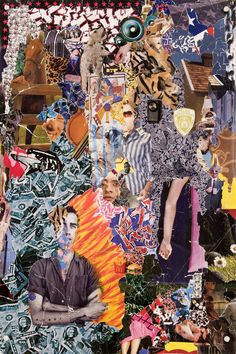 Michael Anderson, Incomplete Portrait of David Wojnarowicz, collage from torn street posters at Marlborough