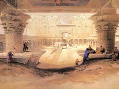 Dromos/Outer Court of the Great Temple at Edfou in Upper Egypt - Artist David Roberts. Neoclassical/Romanticism.