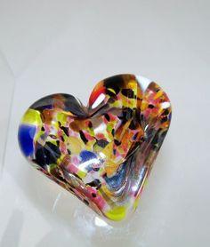 Blown Glass Art | Hand Blown art glass Heart Paperweight $20 | Art~ Glass Art