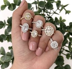 💎 𝐑𝐄𝐀𝐃𝐘 𝐓𝐎 𝐖𝐄𝐀𝐑 💎⠀ ⠀ Shop our collection of beautiful hand-selected and one-of-kind engagement rings. 💍 Each ring has been custom designed around its center stone!