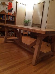 Farmhouse Table with Bowling Alley Top (Shown: DIY Home Projects from Ana White) Not up to making it yourself? Message us and we'll make it for you! Handmade Furniture, Wood Furniture, Home Projects, Home Crafts, Farmhouse Table, White Farmhouse, Do It Yourself Home, Ana White, Table Plans