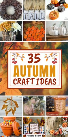 35 Easy DIY Fall crafts for adults that'll make this Fall so much fun! These DIY Fall crafts are easy, beautiful and A LOT of fun! Fall Crafts For Adults, Easy Fall Crafts, Thanksgiving Crafts, Holiday Crafts, Holiday Decor, Mason Jar Crafts, Mason Jar Diy, Diy Candles Easy, Diy Crafts How To Make