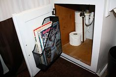 Screw a magazine rack onto a cabinet door for bathroom storage. Good for storing anything from flat irons to extra shampoo!