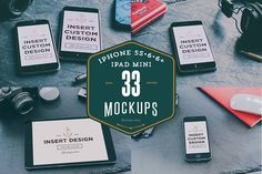 33 iPhones 5s, 6, 6+ & iPad mockups by Madebyvadim on @creativemarket