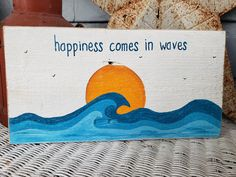 Happiness Comes in Waves reclaimed wood retro-inspired Simple Canvas Paintings, Easy Canvas Art, Small Canvas Art, Easy Canvas Painting, Mini Canvas Art, Cute Paintings, Canvas Painting Designs, Painted Canvas, Canvas Ideas
