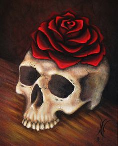 Zenith Nadir by Natalie VonRaven  Original 8x10 acrylic painting: https://www.etsy.com/listing/165132089/original-gothic-fantasy-human-skull-rose?ref=shop_home_feat  8x10 prints: https://www.etsy.com/listing/166484010/gothic-fantasy-rose-skull-8x10-print?ref=shop_home_active  #Skull #Rose #Art