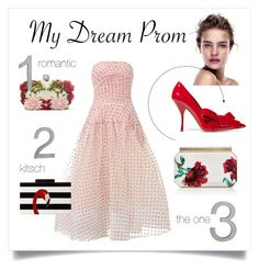 """Polka-dot Prom"" by grrr8style ❤ liked on Polyvore featuring Miu Miu, Maticevski, Alexander McQueen, Oscar de la Renta, Jessica McClintock and CB2"