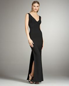 Sleeveless Bandage  Maxi Dress with Slit by Herve Leger at Neiman Marcus. Jill's dress for gala event