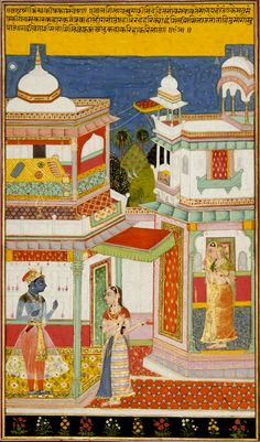 From a dispersed series of the Rasikapriya, written in 1591 by Keshavadasa, court poet to the king of Orchha. It can be read on two levels, the human and the divine, since its hero is the god Krishna and its heroine is Krishna's favorite, Radha. Here Radha's sakhi (friend) confronts the blue-skinned god on behalf of the heroine, who waits in the 2nd pavilion. She reminds Krishna that he has used many tactics to win Radha and asks why he hesitates to see R now. Bundi or Kota, Rajasthan…