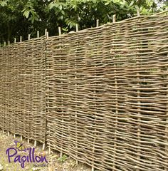 Papillon™ Hazel Hurdles Fencing Panel Woven from coppiced hazel to a traditional pattern, this beautiful, robust and eco-friendly hazel fence panel will make a perfect practical addition to your garden. Bring a part of the countryside to your ve Fence Panels For Sale, Garden Fence Panels, Front Yard Fence, Fence Art, Garden Fencing, Fenced In Yard, Trellis Panels, Dog Fence, Garden Privacy