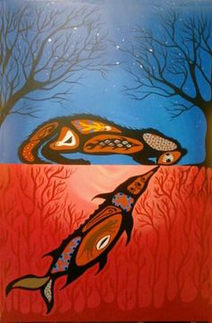 An Evening Reflection On The Lake: a story painted by Simone McLeod about a unique friendship found in a place where friendship was impossible. Native Art, Native American Art, Contemporary Art Forms, Artist Portfolio, Indigenous Art, Sacred Art, First Nations, New Beginnings, Nativity