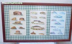 . 2  Cuadros Decoracion cocina - Office Vintage. enmarcados con Paspartu a  cuadros en verde. Laminas inglesas. Uno de recetas y otro de especias. En buen estado. Marcos con algun rasgu�o.Tal y como se muestran en las fotos. Medidas: el de recetas 68 Anc