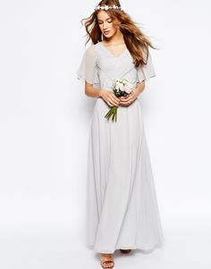 Image 1 of ASOS WEDDING Lace and Pleat Maxi Dress