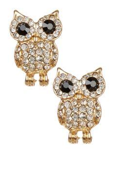 CZ Puff Owl Stud Earrings on HauteLook