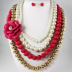 Fucshia Stone Bead Necklace Set via Thorpe's Emporium. Click on the image to see more!