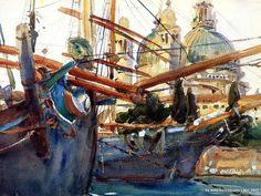 "John Singer Sargent Watercolors : ""Behind the Salute 5 - Venice"""