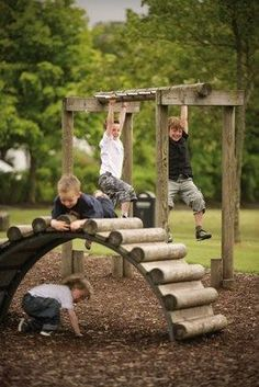 porch play spaces | logs and plywood. Natural outdoor play space idea. | Little Boys