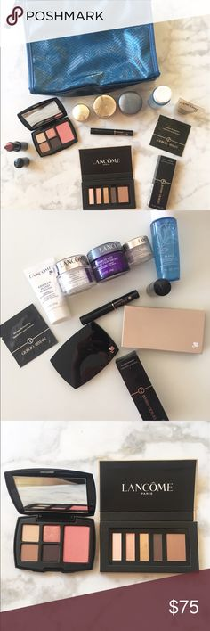 "Luxury Skincare & Makeup Bundle Luxury Skincare/Makeup Bundle! Includes: Lancôme Cosmetic Bag(9.5""X 7.5"" X2.5""), Lancôme Full Size Double-Action Eye Makeup Remover, Lancôme Night Cream (Full Size: 0.5oz), Lancôme Rejuvenating Day Cream (Full Size), Lancôme Eye Cream (Full Size), Lancôme Hand Anti-Aging Cream, Lancôme High Definition Mascara, Lancôme Lip Stick ""Love It"", Eyeshadow Palette ""Tea Party"", Eyeshadow/Blush Mirror Compact, GIORGIO ARMANI Master Corrector (Full Size), Sample GIORGIO…"