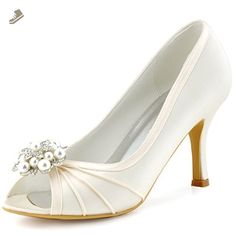ElegantPark Women Peep Toe Pearls High Heel Pumps Satin Evening Wedding  Dress Shoes Ivory US Heel Size  check the sizing info before you purchase). 13c6c820ef00