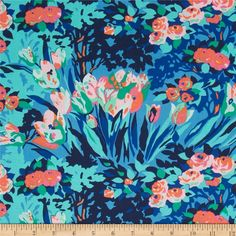 Amy Butler Violette Meadow Blooms Midnight from @fabricdotcom  Designed by Amy Butler for Westminster, this cotton print fabric is perfect for quilting, apparel and home decor accents. Colors include coral orange, pink, mint, green, royal, sky and navy.