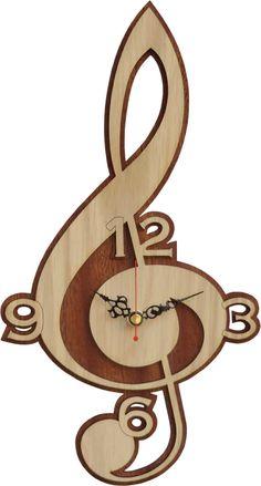 Clave de sol reloj de madera reloj de música por Woodentek en Etsy