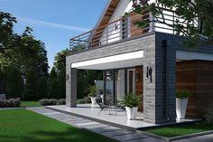 Projekt domu Fiodor G2 133,7 m2 - koszt budowy - EXTRADOM Dormer Bungalow, Modern Bungalow House, Küchen Design, House Design, Attic Rooms, Balcony Design, Mediterranean Homes, Good House, Small House Plans