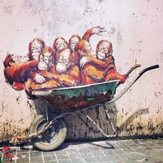 Streetart: New Pieces by Ernest Zacharevic in Kuching // Malaysia (12 Pictures) > Film-/ Fotokunst, Paintings, Streetstyle, Travel, urban art > artwork, ernest Zacharevic, kuching, malaysia, mural, piece, public art