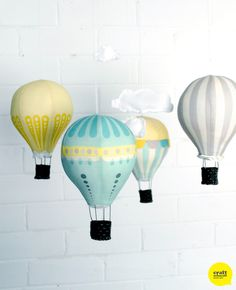 """DIY Hot Air Balloon Mobile: Kits and Fabric panels from Craft Schmaft #CraftSchmaftBalloons    These are so beautiful.  I know some babies that """"need"""" some...and I'd love to make these for my babies someday."""