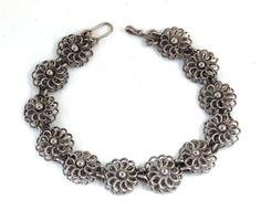 "Vintage Arts & Crafts Silver Filigree Bracelet Small Flower Links Old Wire Work 8.25"" Long #handmade #teamlove"