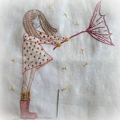 This girl being blown about by Cornish winds is a very simple embroidery pattern, quite suitable for beginner stitchers. It uses mainly back stitch. The
