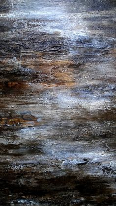 Ebb And Flow This is an original Amy Neal abstract painting on 24 x 30 gallery-wrapped canvas. Deep, rich shades of brown, gray, amd white with a subtle distressed texture. Reminiscent of the patterns of sun on water. Sides painted black. Ready to hang or frame any direction. Black Cat Painting, Black Canvas Paintings, Canvas Wall Art, Distressed Texture, Texture Painting, Contemporary Paintings, Simply Beautiful, Oeuvre D'art, Painting Inspiration